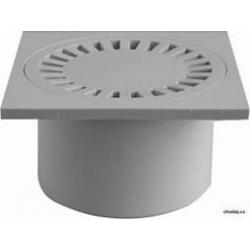 Podlahová vpusť spodná s plastovou mriežkou 150x150 / DN 50/84
